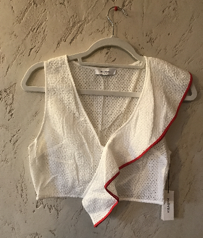 MARYSIA WHITE SEAHAVEN EYELET V-NECK CROP TOP W/RED CONTRAST EDGE ON RUFFLE