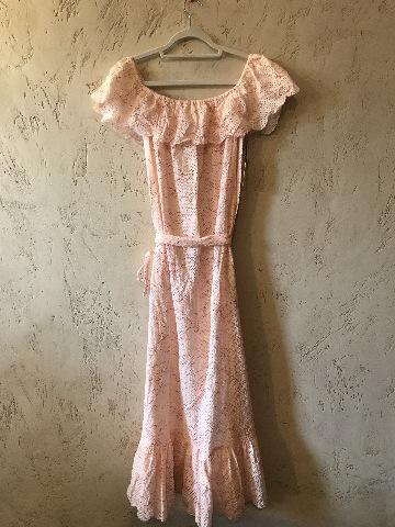 MARYSIA VICTORIA DRESS EMBROIDERED ADJUSTABLE TIE BELT EYELET SHEER RED/PINK