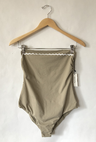 MARYSIA BANDEAU MAILLOT SWIMSUIT W/ RIC RAC STRAPLESS IN TAN