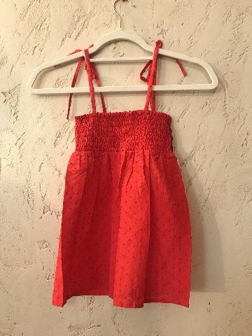 MARYSIA SMOCKED BABYDOLL STRAP DRESS RED SWISS DOT