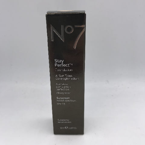 NO7 STAY PERFECT FOUNDATION CALICO ALL SKIN TYPES COVERAGE FOUNDATION 30ML. 1 FL. OZ.