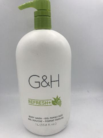 AMWAY G&H REFRESH+ GEL FAMILY SIZE BODY WASH 1 L. 33.8 FL. OZ.