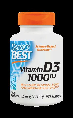 DOCTOR'S BEST VITAMIN D3 25 MCG (1000 IU) 180 SOFTGELS (EXP. 11/2022)
