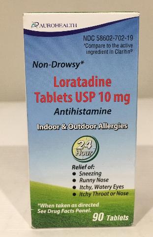 AUROHEALTH LORATADINE TABLETS USP 10 MG, 90 TABLETS, EXP 11/2021