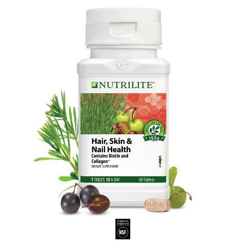 NUTRILITE HAIR SKIN & NAIL HEALTH 60 TABLETS BIOTIN & COLLAGEN EXP 08/2021