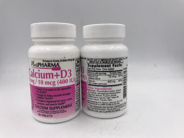 LOT OF 2 PLUS PHARMA CALCIUM +D3 60 TABLETS EXP 09/22