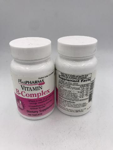LOT OF 2 PLUS PHARMA VITAMIN B-COMPLEX 100 TABLETS EXP 09/22