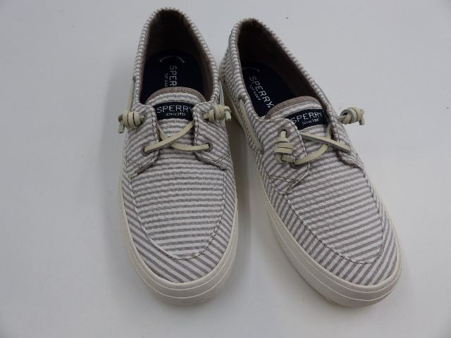 SPERRY STS85203 CREST BOAT SEERSUCKER GREY/WHITE SNEAKERS WOMENS SIZE 8