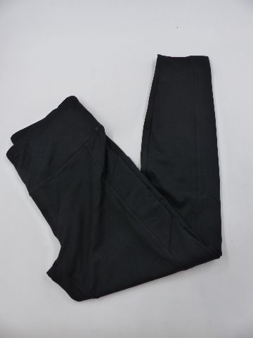 ABSOLUTELY FIT 396 HI WAIST TUMMY CONTROL BLACK ANKLE LEGGING W/POCKETS WOMENS M