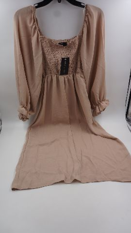 NEW LOOK SHIRRED SQUARE NECK MIDI DRESS IN CAMEL WOMENS SIZE UK 4