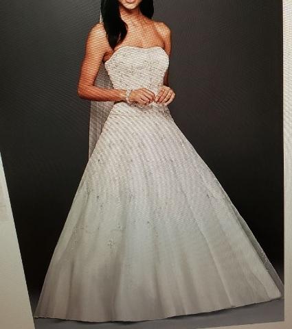 OLEG CASSINI WEDDING DRESS 4XLCT258 EXTRA LENGTH BODICE ORGANZA SKIRT / BEADING