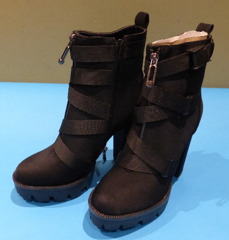 SIMMI LONDON JEMMA 1407104 BLACK LYCRA CHUNKY US WOMEN 7 HEELED BOOTIES