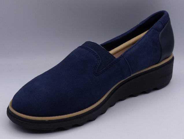 CLARKS SHARON DOLLY NAVY SUEDE US WOMEN