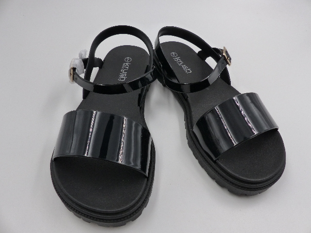 KRUSH CLEATED 2 PART SANDAL WOMENS BLACK SIZE 7