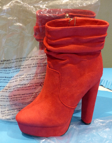 SHOEDAZZLE EAST SIDE RED US WOMEN 7.5 EU 38 ANKLE BOOTS