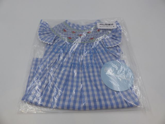 LITTLE ENGLISH WATERMELON/ PLAID BISHOP DRESS GIRLS 18M