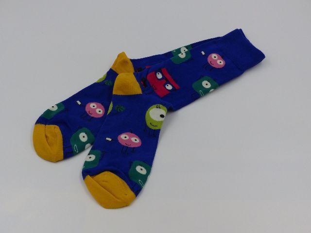 2 PAIR GENERIC CARTOON BLUE/ YELLOW MEN 9-11 DRESS SOCKS