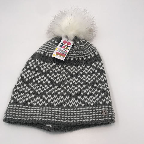 NORDSTROM ZELLA GRAY AND WHITE POM POM BEANIE