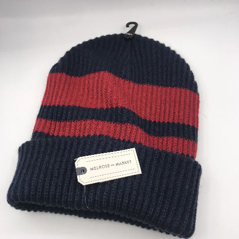 NORDSTROM MELROSE AND MARKET BLUE/RED STRIPE KNIT BEANIE