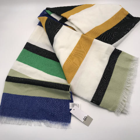 """NORDSTROM BP GREEN YELLOW BLACK BLUE MULTI COLORED BLANKET SCARF 80"""" X 30"""""""