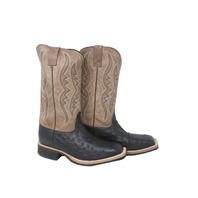 JUSTIN J4024 MENS BLACK FULL QUILL OSTRICH WESTERN BOOTS SZ 9.5 EE