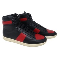 SAINT LAURENT 418026-D2630 BLACK & RED COURT CLASSIC SL/10 HIGH-TOP SNEAKERS SIZE 42 IT/ 9 US