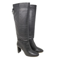 KATE SPADE NEW YORK S935105 BLACK HAZEL SELF-TIE LEATHER BOOTS SZ 10