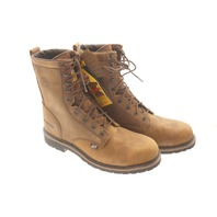 JUSTIN WK961 MENS WYOMING WATERPROOF ROUND TOE STEEL TOE LACE BOOTS SZ 12D