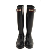 HUNTER WFT1000RGL ORIGINAL GLOSS TALL RAIN BOOT WOMENS SIZE 6 NAVY
