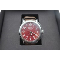 SHINOLA S0110000108 41MM MENS RUNWELL RED DIAL BROWN LEATHER STRAP WATCH