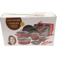 RACHAEL RAY 11526T 16 PIECE RED HARD ENAMEL COOKWARE SET