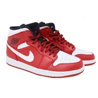 AIR JORDAN 1 MID (554724 605) MENS GYM RED/WHITE-BLACK BASKETBALL SHOES SZ 9