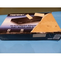 TRENDNET 26-PORT GIGABIT 400 WATT POE+ AV SWITCH, 24 X 10/100/1000 MBPS GIGABIT PORTS, 2 SFP SLOTS, REAR PANEL