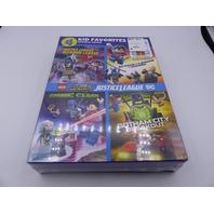 4 KID FAVORITES ORIGINAL MOVIES LEGO DC SUPER HEROES JUSTICE LEAGUE DVD NEW
