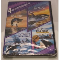 4 FILM FAVORITES FREE WILLY 1 - 4 DVD NEW SEALED