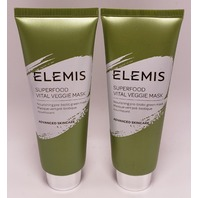 2* ELEMIS SUPERFOOD VITAL VEGGIE MASK ADVANCED SKINCARE 75ML 2.5OZ