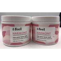 LOT OF 2 FEEL ROSE PETAL HARMONY FACIAL MASK 100 ML. 3.4 FL OZ.