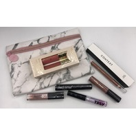 IPSY GLAM BAG AND 7 PC ASSORTED LIP STICK, LINER,  AND GLOSS
