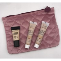 IPSY GLAM BAG AND 3 PC ASSORTED FOUNDATION AND CONCEALER