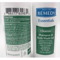 LOT OF 2 MEDLINE REMEDY ESSENT CLEANSE SHAMPOO & BODY WASH GEL 2 FL. OZ. 59 ML.
