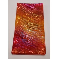 MARIAN FIELDSON VOLCANIC LAVA ART GLASS PLATTER TRAY BIG ISLAND RED YELLOW NEW