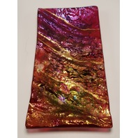 MARIAN FIELDSON VOLCANIC LAVA ART GLASS PLATTER TRAY BIG ISLAND MAGENTA GOLD NEW