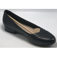 CLARKS JULIET PETRA BLACK LEATHER CUIR NOIR PUMPS US WOMENS 9 WIDE EU 40