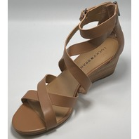 LUCKY BRAND HELENA DARK CAMEL LEATHER WEDGE SANDALS US WOMENS 7