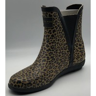 LONDON FOG LFW-PICCADILY NEW LEOPARD PRINT RUBBER BOOTS WOMENS SIZE 6M