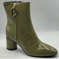 ASOS DESIGN CHARLOTTE FEATURE ZIP SMART BOOTS IN GREEN PATENT NEW SIZE 6