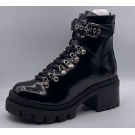 JEFFERY CAMPBELL LUG SOLE ANKLE TIE BOOTS BLACK BOX SIZE US WOMENS 7M