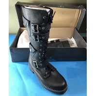V ITALIA 975 BLACK-3 LEATHER STRAP BOOT COMFORT SHOES SIZE EU 37