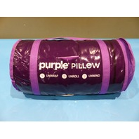 PURPLE PILLOW WITH WHITE PILLOW CASE AND BAG