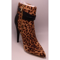 JUST FAB CHLOELLE LEOPARD US WOMENS 7 POINTED TOE BOOTIES